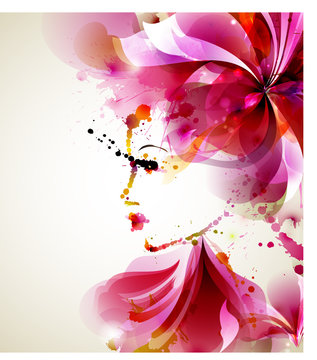 Beautiful fashion women with abstract hair and design elements