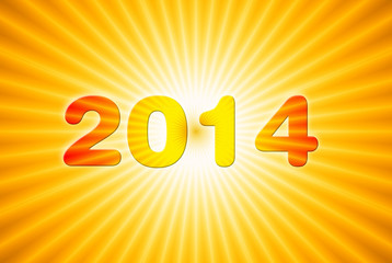 2014 new year on sun background