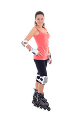 attractive young brunette on roller skates