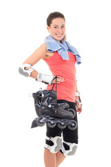 portrait of smiling woman with roller skates isolated on white b