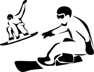 stylized snowboarding