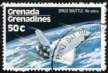 stamp printed in Grenada shows Space Shuttle