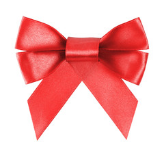 red festive bow made from ribbon