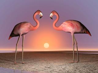 Flamingos date - 3D render