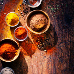 Cooking with spices in a rustic kitchen