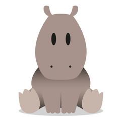 A vector cute cartoon baby hippo icon