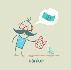 banker plant watering and thinks about the dollar