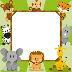 Vector Cartoon Cute Wild Animals And Framework