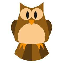 Vector Cute Cartoon Brown And Orange Owl