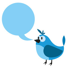 Vector Cute Blue Cartoon Bird With Bubble Text