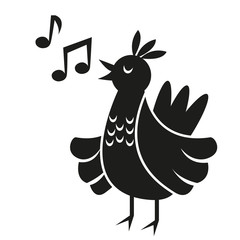 Vector Cute Black And White Cartoon Bird Singing