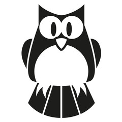 Vector Cute Black And White Cartoon Owl