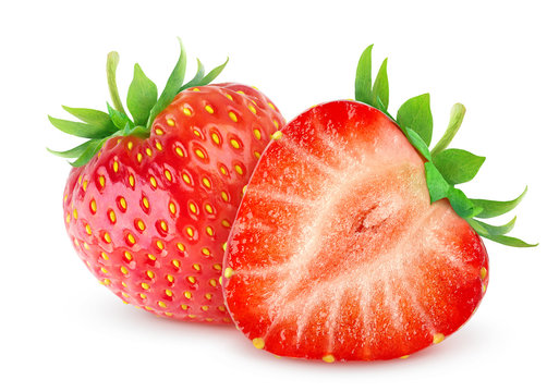 Isolated strawberries. Two cut strawberry fruits isolated on white background