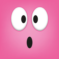 A Vector Cute Cartoon Pink Surprised Face