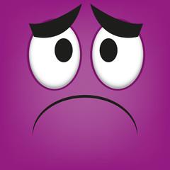 A Vector Cute Cartoon Purple Sad Face
