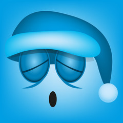 Vector Cute Cartoon Blue Face With Santa Sleep Hat