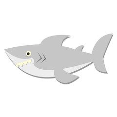 Vector Cute Cartoon Gray Shark Isolated Icon