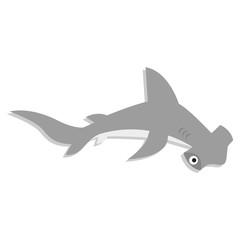 Vector Cute Cartoon Hammerhead Shark Isolated Icon