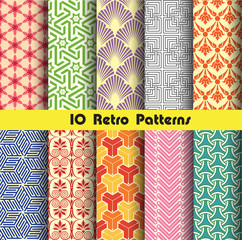 retro seamless patterns collection