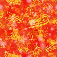 Grunge red seamless pattern with ski, sledge, skate. Eps10