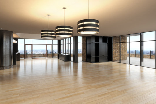 Empty room of business or residence with city background.