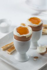 Two soft-boiled eggs for breakfast