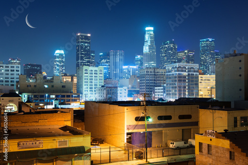 Fototapete Los Angeles city skyline at night