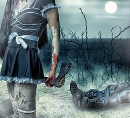 Foto op Aluminium Volle maan Halloween horror concept.