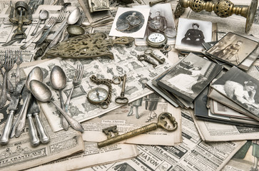 Antique goods prepared for sale on the flea market