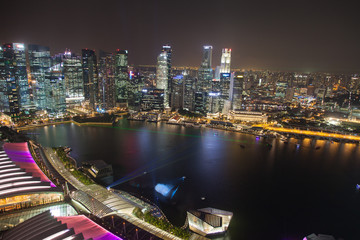 Singapur, Marina Bay bei Nacht
