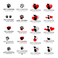Cat And Dog Icons Set - Isolated On White Background