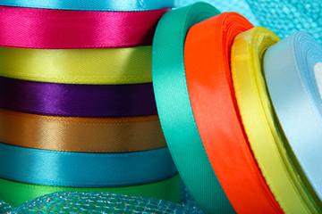Bright ribbons close-up