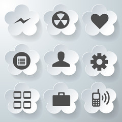 White 3d icons 3d icons set icon collection vector illustration