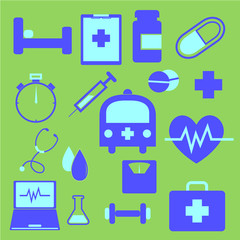 Set of health icons on green background