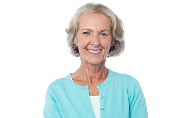 Smiling aged lady in casuals