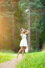 Beautiful woman on nature. Beautiful Young girl Outdoors. Enjoy