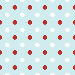 Christmas retro background with Polka Dots in red and white