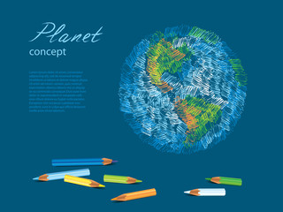 Colorful sketch of planet Earth and pencils