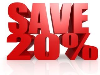Save 20 percent