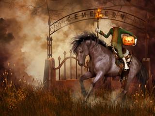 Jeździec bez głowy na tle cmentarnej bramy - fototapety na wymiar