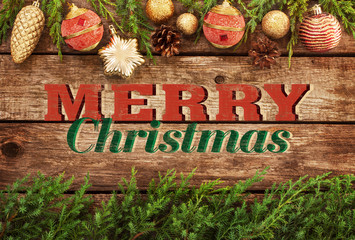 Merry Christmas vintage postcard or poster design