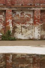 Wall Mural - Hintergrund marode Klinkerwand mit Spiegelung