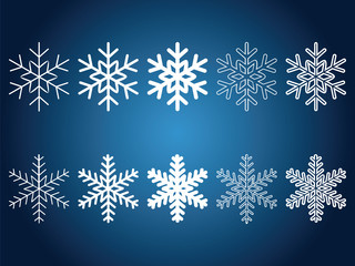 Beautiful snowflakes set for christmas winter design