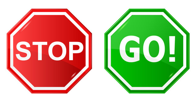 Vector illustration of sign : Stop and Go.