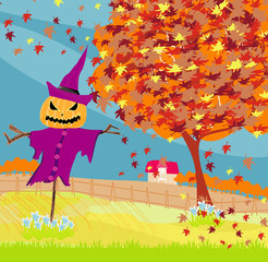 Halloween scarecrow, Autumn rural landscape