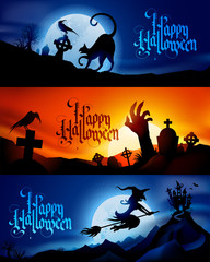 Three scary vector halloween banners