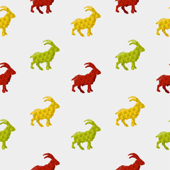 Canvas Prints Geometric animals Abstract goat isolated on a white background. Seamless pattern