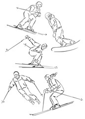 """""""silhouettes of snowboarders and skiers"""""""