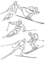"""""""five silhouettes of skiers"""""""