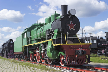 The old  passenger Soviet locomotive